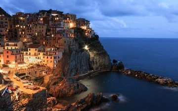 огни, скалы, море, дома, италия, манарола, чинкве-терре