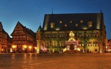 огни, вечер, дома, площадь, германия, ратуша, quedlinburg