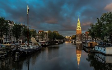 lights, the evening, boats, channel, tower, home, netherlands, amsterdam