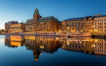 lights, water, the evening, river, reflection, home, promenade, sweden, building, stockholm, piers