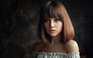 девушка, портрет, взгляд, волосы, губы, лицо, голубоглазая, георгий чернядьев, голые плечи, оля