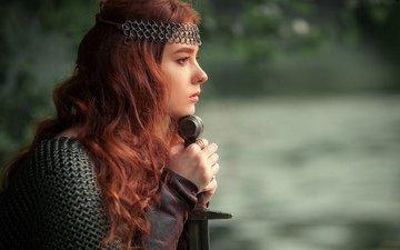 девушка, меч, взгляд, профиль, волосы, лицо, доспехи, ольга бойко