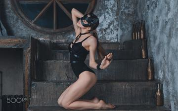 ladder, girl, mask, brunette, model, body, black lingerie, closed eyes, on my knees, olga, daria klepikova