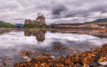 lake, reflection, scotland, the eilean donan castle