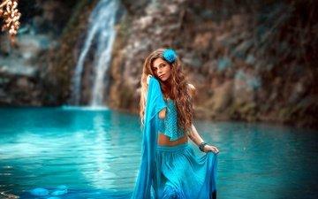 озеро, природа, девушка, водопад, взгляд, модель, лицо, длинные волосы, stephanos georgiou, ivi slavcheva