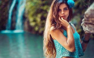 озеро, природа, цветок, водопад, взгляд, модель, сёрьги, браслеты, длинные волосы, топик, stephanos georgiou, ivi slavcheva
