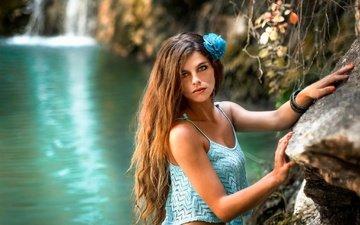 озеро, природа, цветок, водопад, взгляд, модель, браслеты, длинные волосы, stephanos georgiou, ivi slavcheva