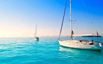 пейзаж, море, яхты