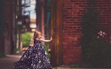 dress, wall, children, girl, child, brick, meg bitton