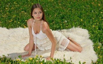 трава, девушка, платье, взгляд, модель, волосы, лицо, одуванчики, nastya k