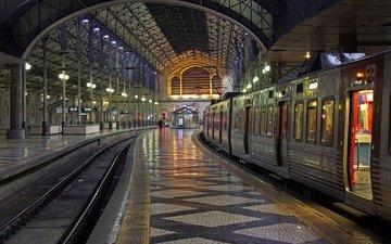 train, portugal, station, lisbon, rossio