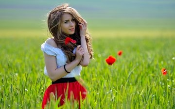 flowers, grass, girl, field, look, red, meadow, model, mac, hair, face, brown hair