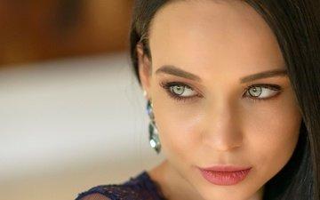 портрет, брюнетка, взгляд, лицо, макияж, боке, ангелина петрова, chris bos