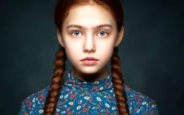 портрет, взгляд, дети, рыжая, девочка, лицо, ребенок, косы, alexander vinogradov, рената