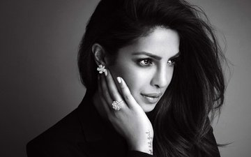 girl, brunette, look, black and white, hair, face, actress, priyanka chopra