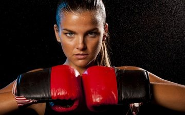 girl, pose, blonde, look, model, boxing, gloves