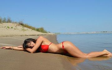 девушка, море, поза, песок, пляж, модель, бикини