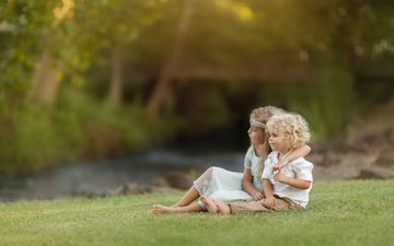 nature, children, girl, curls, a couple, boy, lawn, hugs, kevin cook
