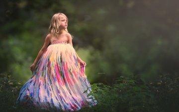 природа, фон, платье, взгляд, дети, девочка, волосы, лицо, ребенок