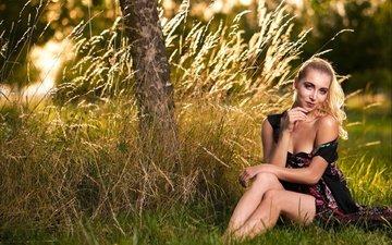 трава, природа, девушка, улыбка, лето, взгляд, модель, сидит, волосы, лицо, софья