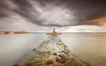 the sky, clouds, nature, sea, lighthouse, horizon