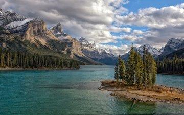 озеро, горы, природа, пейзаж, канада, альберта, национальный парк джаспер, maligne lake