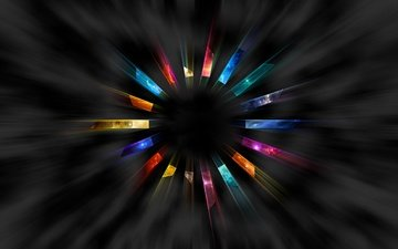 colorful, black background, round, rotation