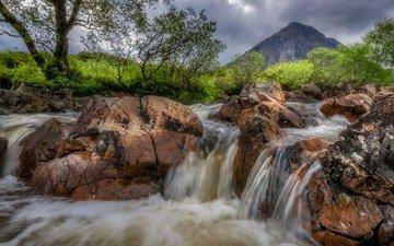 деревья, река, камни, гора, водопад, шотландия