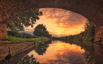 the sky, clouds, trees, river, reflection, bridge, england, arch, canal the trent and mersey