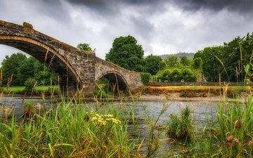 grass, trees, river, bridge, house, arch, wales, century cistercian monastery