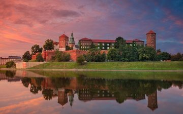 river, sunset, reflection, poland, krakow, wawel castle, vistula, wawel