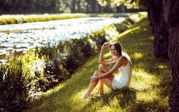 река, природа, девушка, лето, взгляд, модель, лицо, julia janine schwark, julia schwark