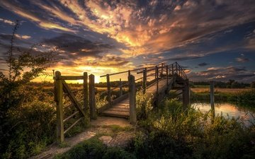 the sky, clouds, river, nature, sunset, landscapes, bridge