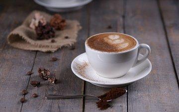 рисунок, кофе, блюдце, чашка, кофейные зерна, капучино, пенка, шоколадные конфеты, деревянная поверхность