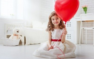 smile, look, girl, hair, face, child, a balloon