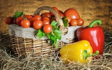 сено, корзина, овощи, помидоры, натюрморт, перец, томаты, паприка