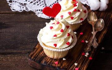 hearts, sweet, dessert, cake, cupcakes, cream