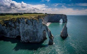 небо, облака, скалы, море, франция, арка, этрета