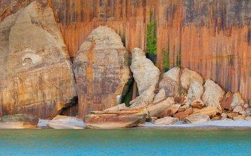 скалы, море, сша, национальный парк, мичиган, пикчерд рокс нешнел лейкшор