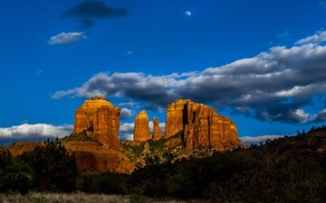 the sky, clouds, rocks, usa, az, cathedral rock