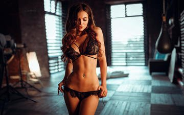 brunette, model, long hair, black lingerie, sofia, ivan gorokhov, belly button ring, sofia kazakova