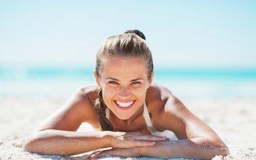 the sun, girl, sea, smile, beach, look, lies, on the sand, bokeh