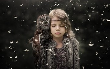owl, background, children, girl, bird, beak, feathers, child, closed eyes