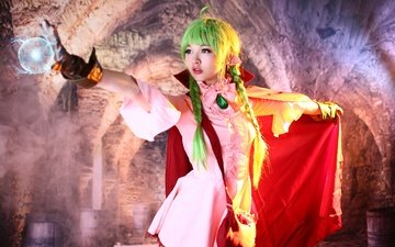 style, girl, look, face, costume, braids, cosplay, fireball