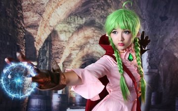 style, girl, look, hair, face, costume, braids, cosplay, fireball