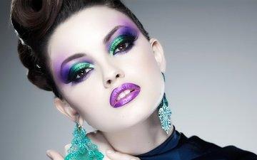 стиль, девушка, портрет, взгляд, модель, губы, лицо, макияж, прическа, сёрьги