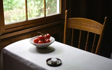 table, window, vegetables, candle, tomatoes