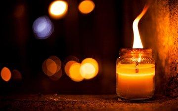 night, flame, glare, candle, bank, bokeh