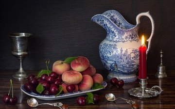 candles, fruit, table, cherry, glass, berries, peaches, dishes, candle, pitcher, plate, still life, candle holder, bell, spoon