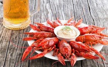 пиво, тарелка, соус, морепродукты, раки